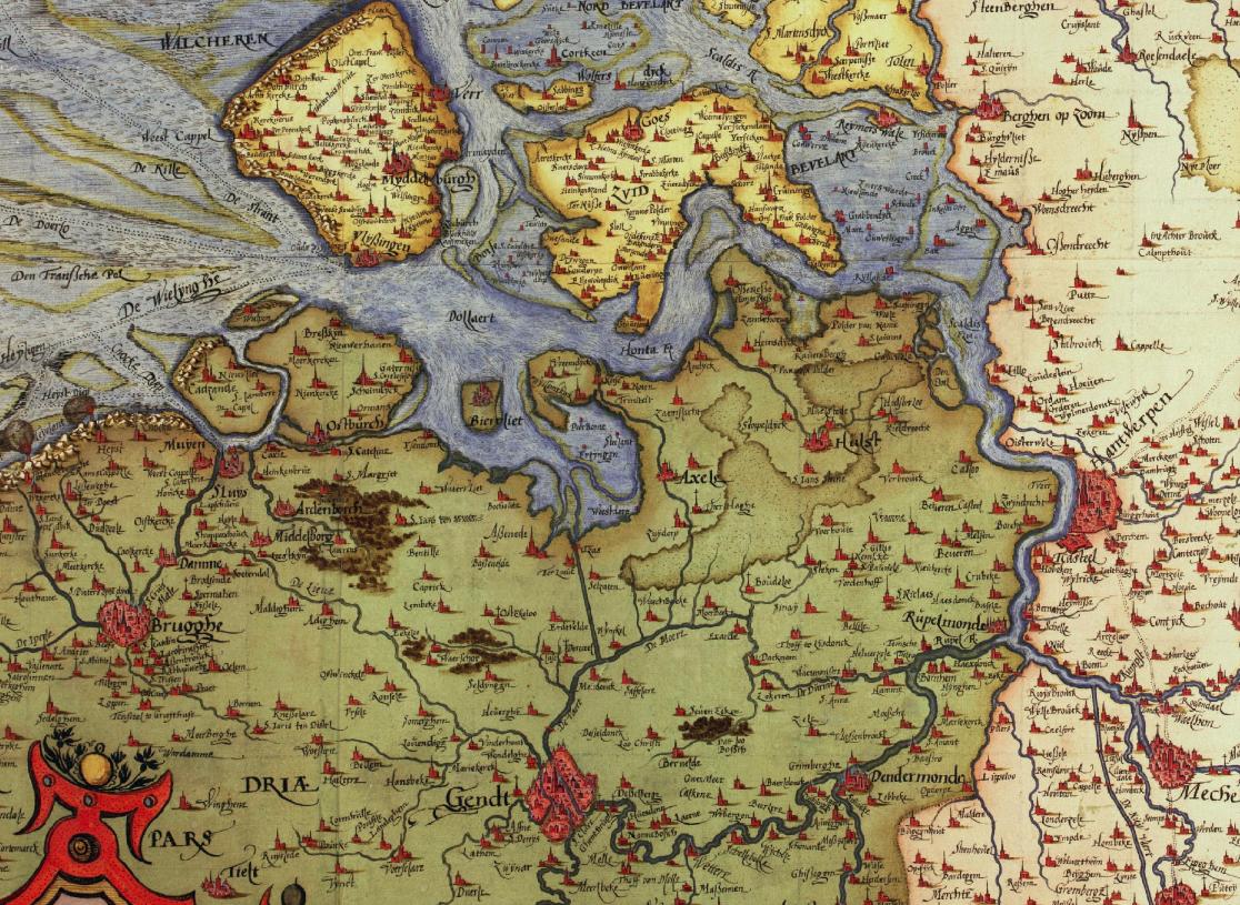 Kaart van het stroomgebied van de Vlaamse Zeeschelde en de Nederlandse Westerschelde uit 1593 door Christiaan Sgrooten