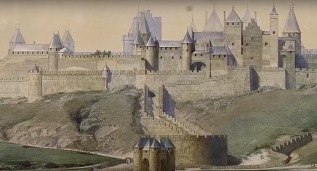 French medieval town of Carcassone, after restoration by Eugene Viollet-le-Duc